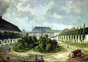 Wessels Fabrik mit dem Gebäude Clemens-August-Straße 16 im Hintergund