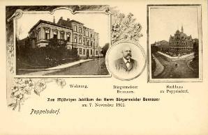 Postkarte zum 25jährigen Diestjubiläum des Bürgermeisters von Poppelsdorf Wilhelm Bennauer