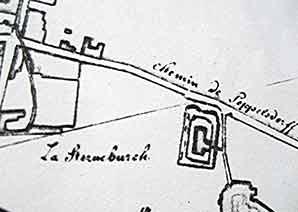 Kartenausschnitt aus einer Landaufnahme der französischen Kommandantur